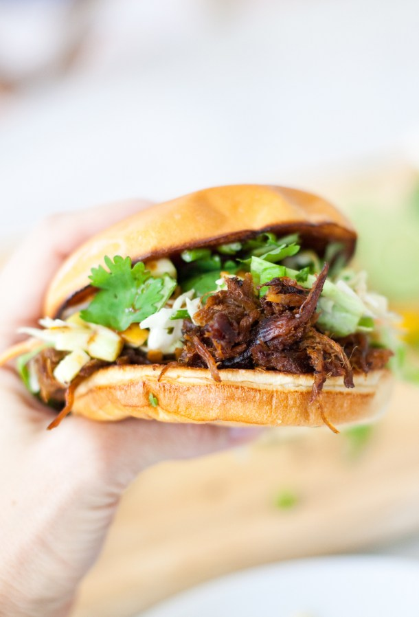 Easy Macro-Friendly pulled pork sandwich with cilantro lime apple slaw
