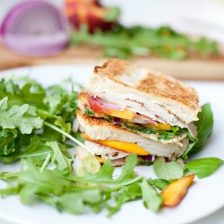 Turkey Peach Bacon and Brie Panini