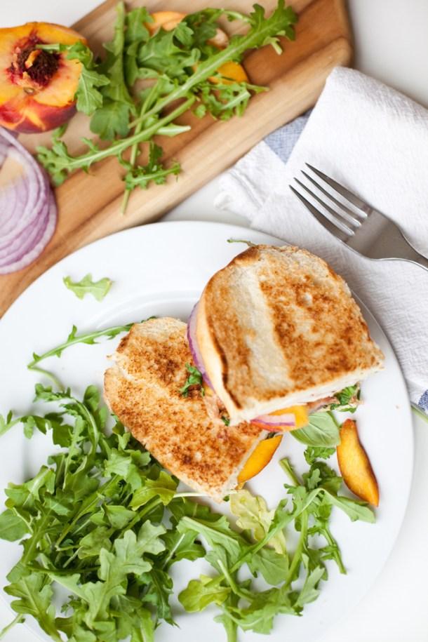 Macro Friendly Turkey Bacon Peach and Brie Panini www.lillieeatsandtells.com