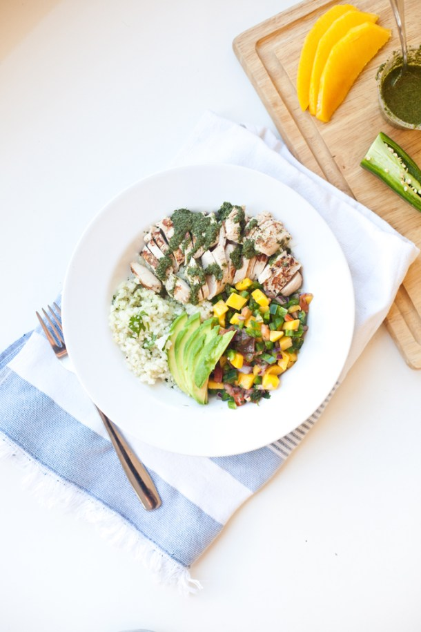 Lightened Up Chimichurri on cauliflower rice bowl lillieeatsandtells.com