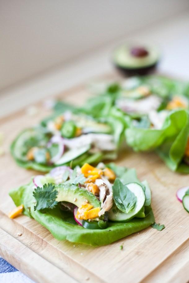 5 minute Thai Chicken Lettuce Wraps