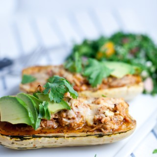 Maple Roasted Chili Stuffed Delicata Squash