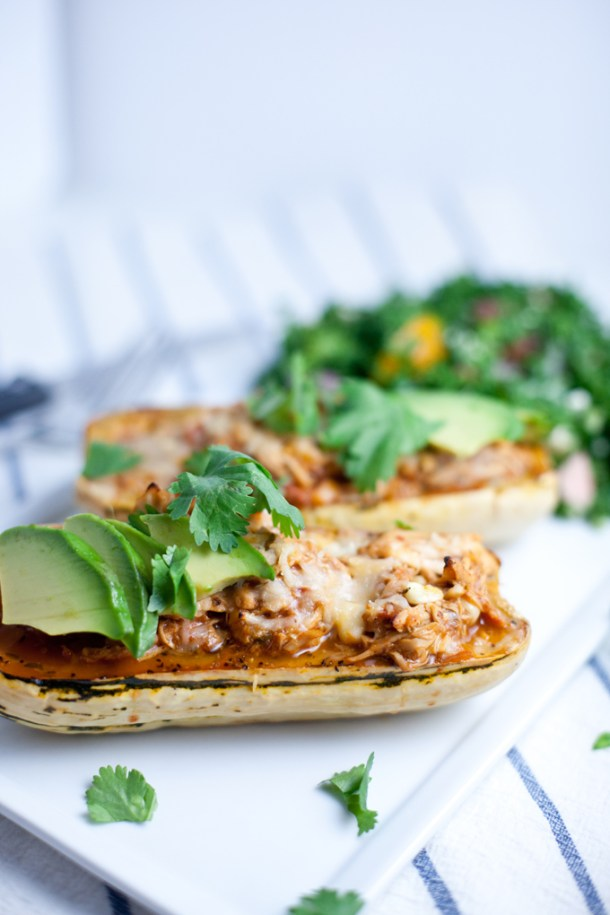 Maple Roasted Stuffed Delicata Squash with leftover chicken chili www.lillieeatsandtells.com