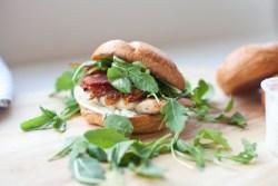 Macro Friendly Caprese Chicken Sandwich with Roasted Tomatoes and light basil garlic aioli www.lillieeatsandtells.com