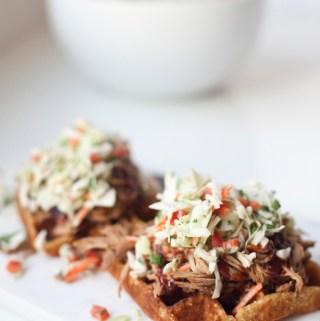 BBQ Pulled Pork and Lighter Cornbread Waffles www.lillieeatsandtells.com
