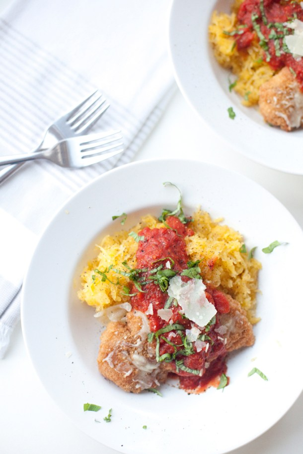 Super quick chicken parmesan on spaghetti squash www.lillieeatsandtells.com