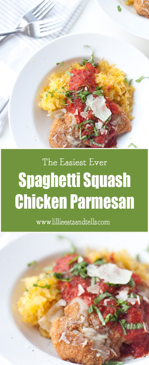 The Easiest Chicken Parmesan on Spaghetti Squash www.lillieeatsandtells.com
