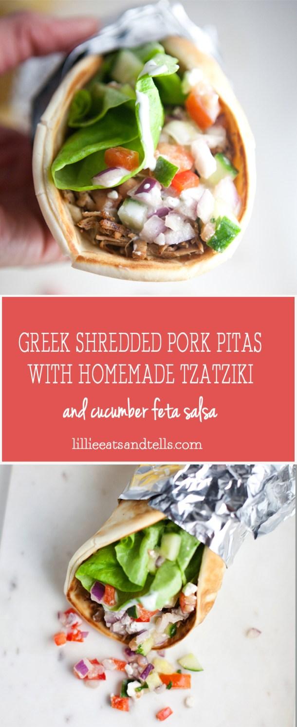 Greek Pitas with Shredded Pork and Cucumber Feta Salsa www.lillieeatsandtells.com