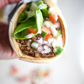 Greek Pitas with Shredded Pork and Cucumber Feta Salsa www.lillieeatsandtells.com