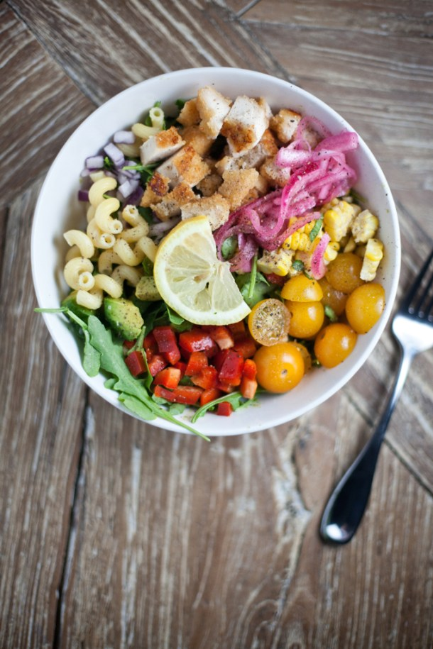 Arugula Pasta Summer Salad with Panko Crusted Chicken