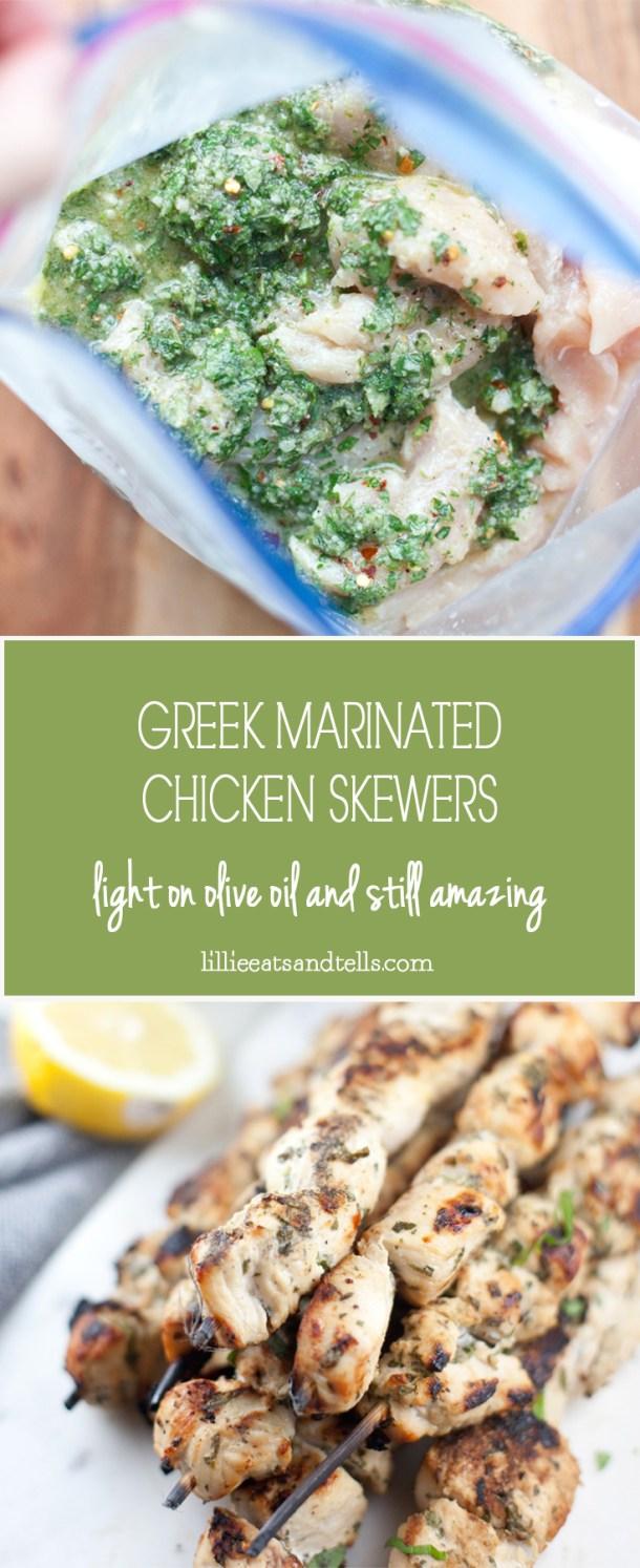 Light on oil but so full of flavor! Greek marinated chicken skewers. #macrofriendly #skinny #healthy #mediterranean @lillieeatsandtells.com
