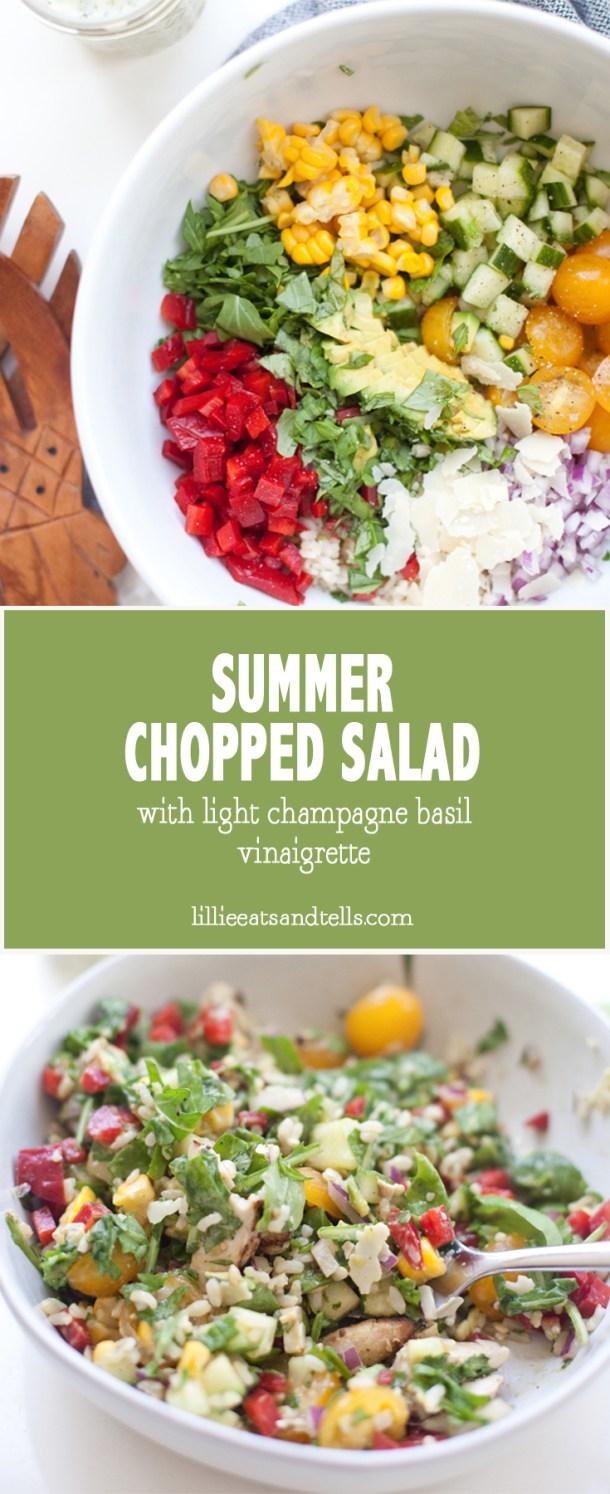 summer chopped salad with light champagne basil vinaigrette #macrofriendly #bigsalad #choppedsalad #healthy www.lillieeatsandtells.com