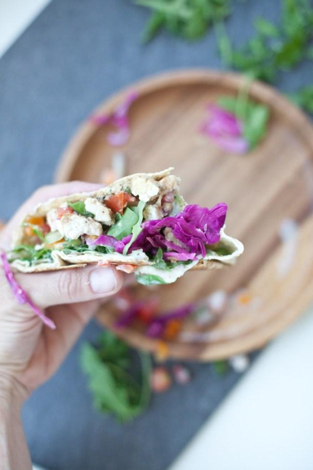 Greek Crunch Wrap www.lillieeatsandtells.com #macrofriendly #lowcarb #macrofriendlyrecipes #healthychickenrecipes