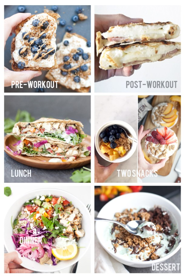 A grid of photos displaying meals