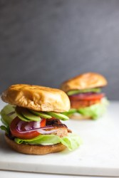 Two blackened salmon sandwiches on a white surface