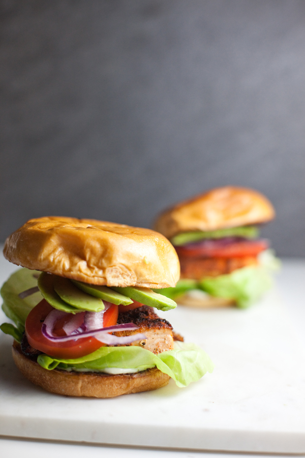 Two salmon sandwiches on a white surface