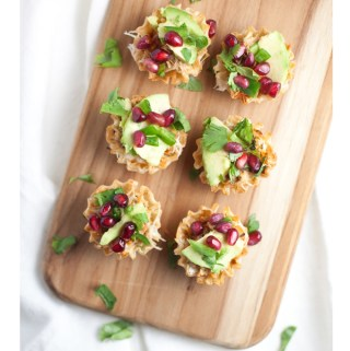 shredded chicken phyllo cups with pomegranate