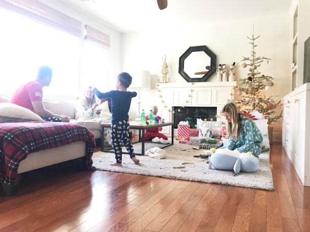 Christmas morning unwrapping
