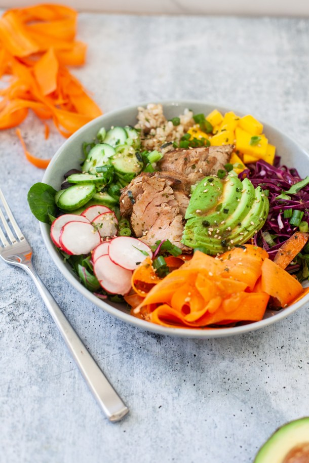 Choose a colorful meal with pickled veggies, my poke bowl. www.lillieeatsnadtells.com