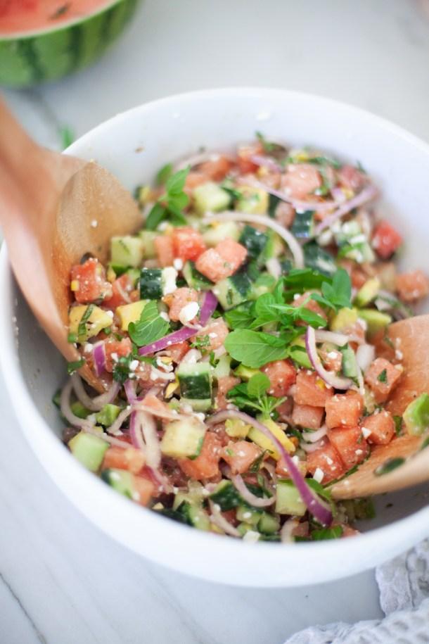 perfectly balanced watermelon cucumber feta salad  www.lillieeatsandtells.com
