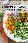 macro friendly peach chopped caprese salad recipe by www.lillieeatsandtells.com
