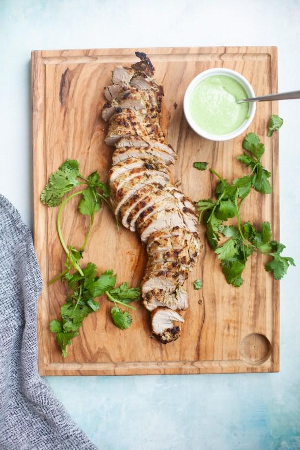www.lillieeatsandtells.com recipe for pineapple cilantro jalapeno air fried pork tenderloin