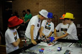The competition robot at the practise table.