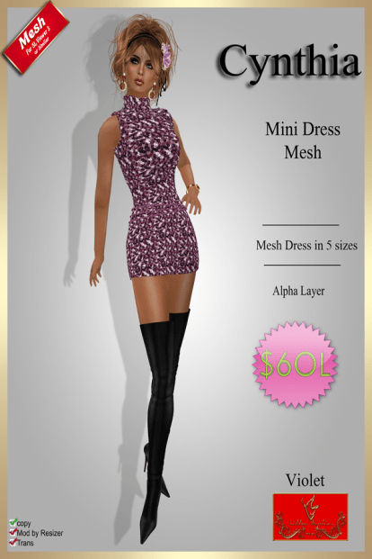 [60] Cynthia - Mesh Mini Dress - VioletPIC
