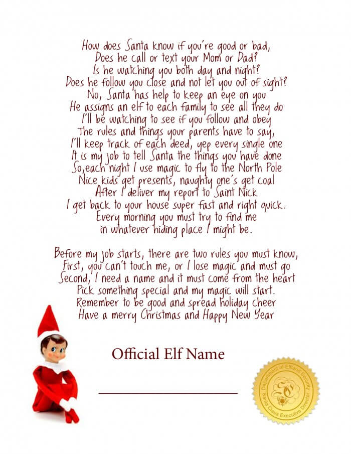 photo relating to Elf on Shelf Letter Printable known as Elf upon the Shelf Strategies for Introduction: 10 No cost Printables