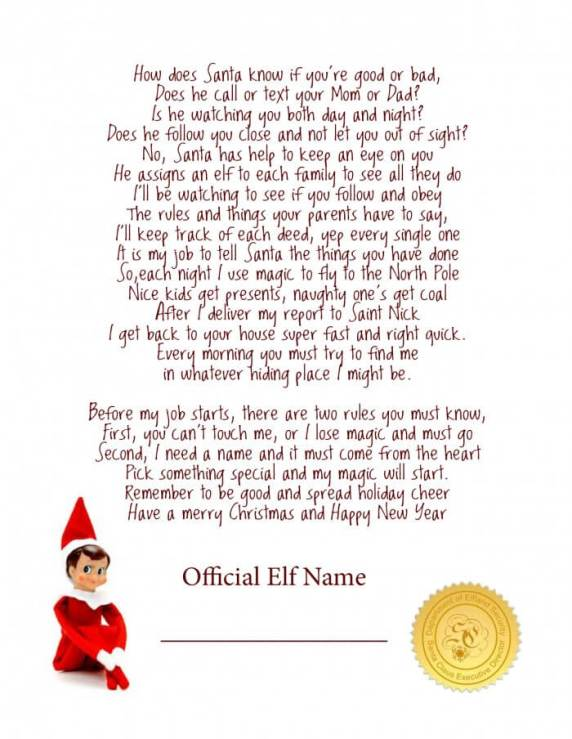 printable letter elf on the shelf welcome dreaming for more hours in a day