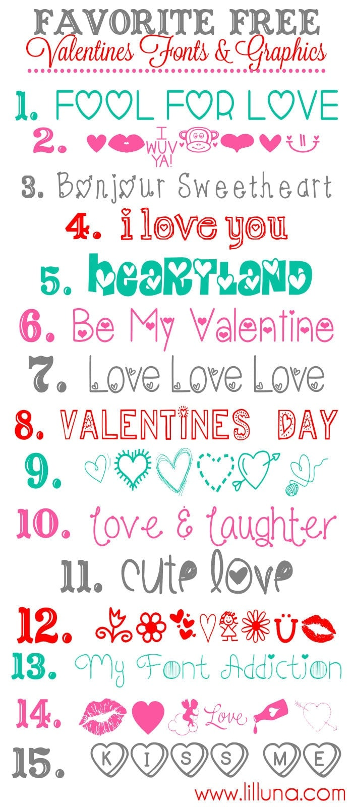 Favorite Free Valentine's Fonts and Graphics to download and use { lilluna.com }