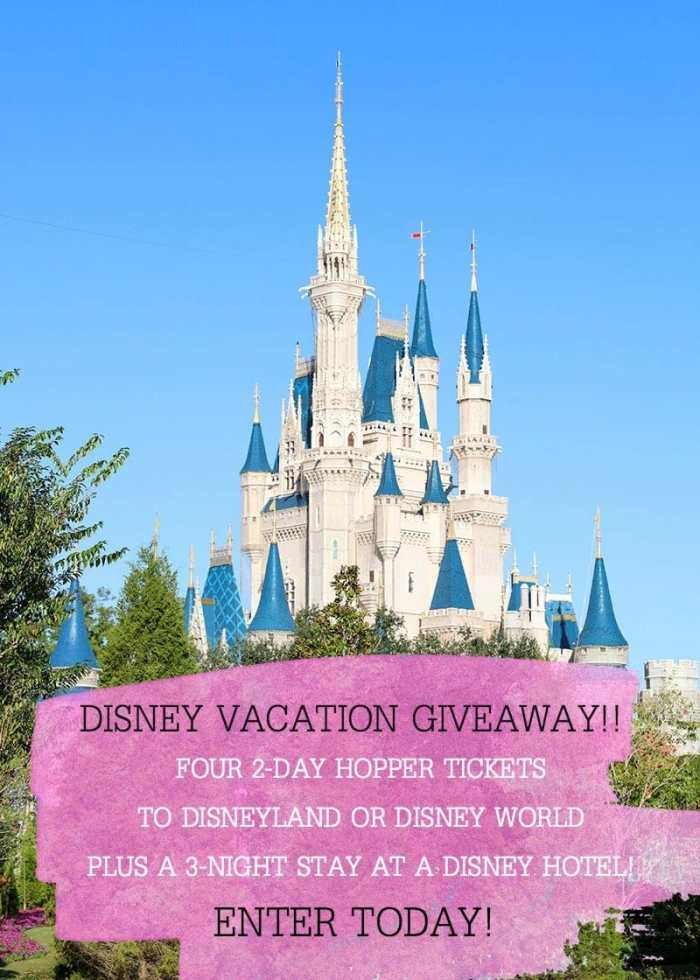 Enter to win a Disney Vacation - FOUR 2-Day Hopper Tickets + 3-Night Stay at a Disney Hotel!!