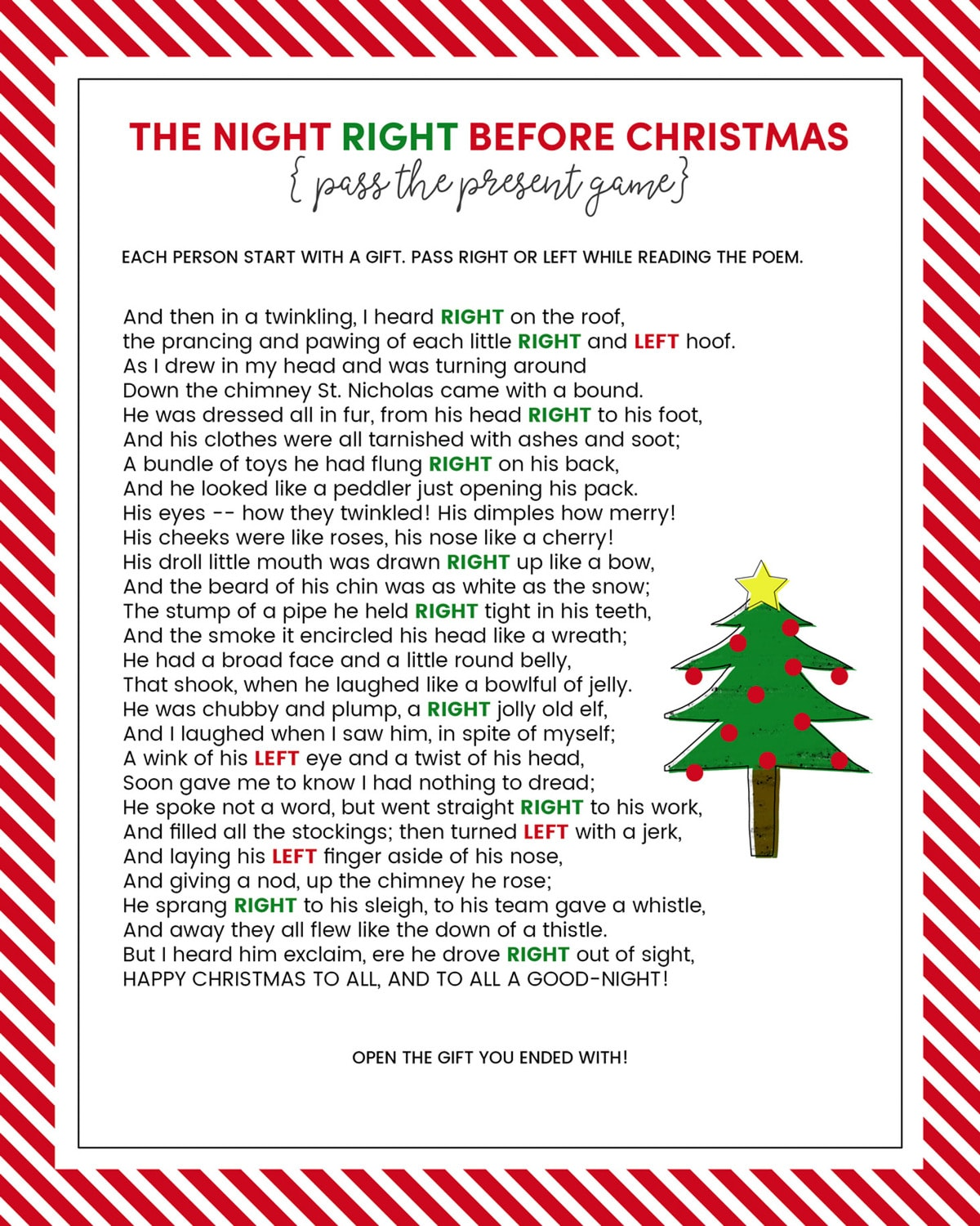 image regarding Christmas Left Right Game Printable named P the exhibit sport