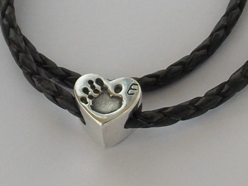Heart finger hand foot paw print solid silver Pandora charm bead