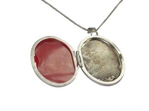 Oval finger hand foot paw print sterling silver locket