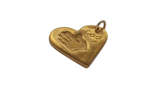 24K gold plating heart finger hand foot paw print solid silver pendant charm