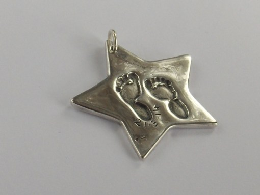 Grand finger hand foot paw print solid silver grand charm