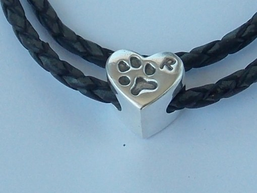 Heart solid silver finger hand foot paw print Pandora charm bead
