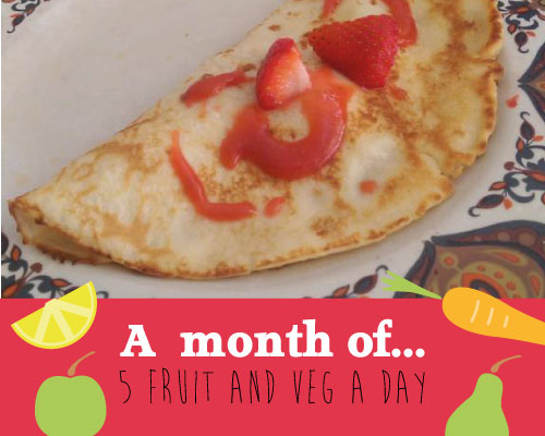 "strawberry pancakes with ""a month of 5 a day"" surrounded by cartoon fruit and veg"