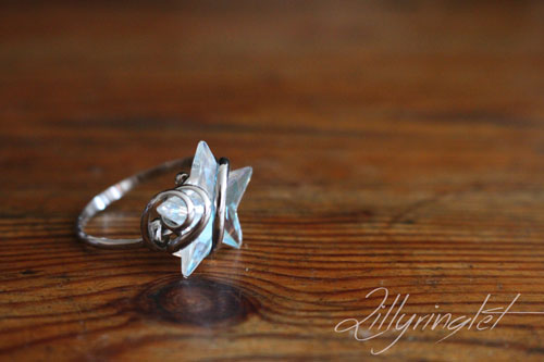 glass ring on a wooden table