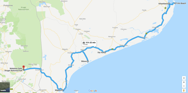 mappa viaggio sud mozambico