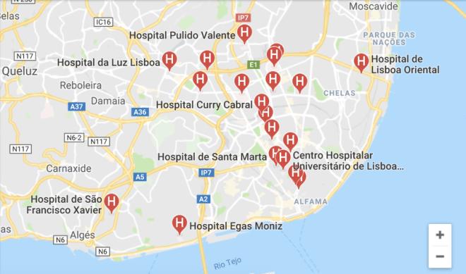 ospedali a lisbona la mappa