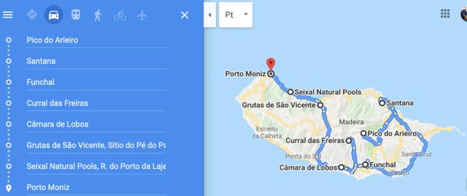 mappa itinerario visita isola madeira
