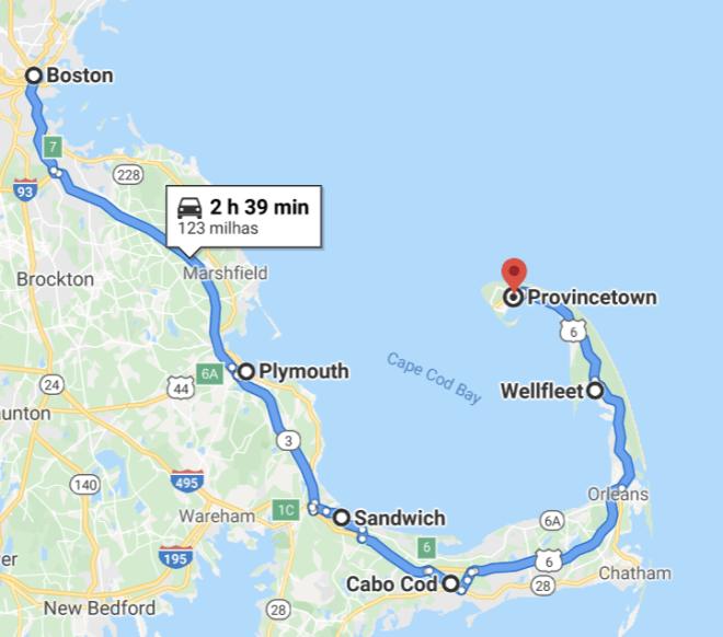da boston a cape cod in auto
