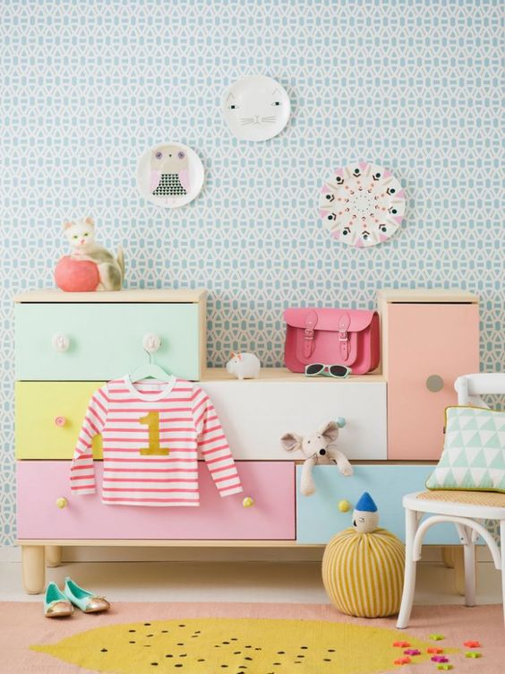 meuble rangement chambre enfant coloré