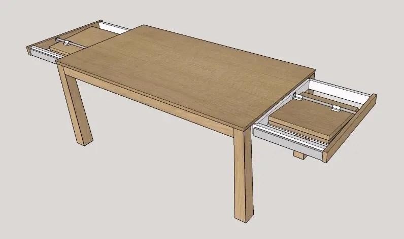 schéma table à manger avec rallonges en bout de table tiroir