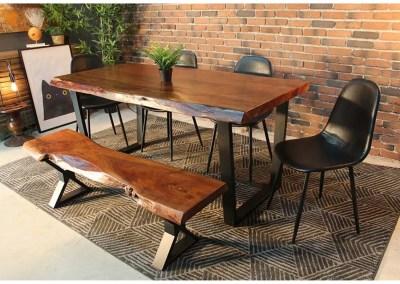 table à manger et banc en bois live edge