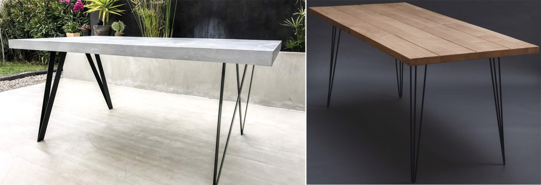 Table en béton ciré / table en bois