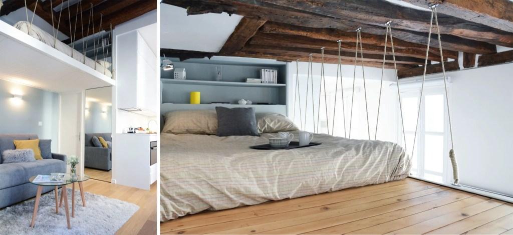 aménagement d'un petit espace, lit mezzanine