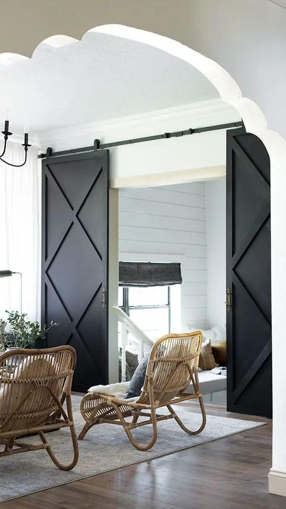 double porte coulissante moderne noire